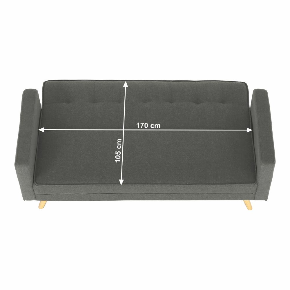 Kinyitható kanapé, szürke szövet, OTISA