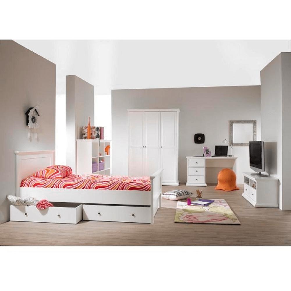 Görgős ágy alatti tároló, DTD fóliázott/MDF festett, fehér, PARIS