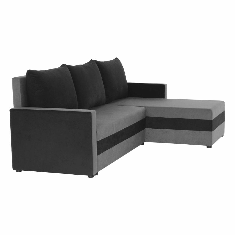 Univerzális ülőgarnitúra, szürke/fekete, PAULITA