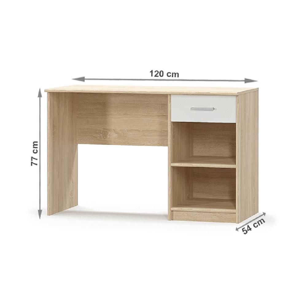 PC asztal 1S, fehér/tölgy sonoma, TEYO