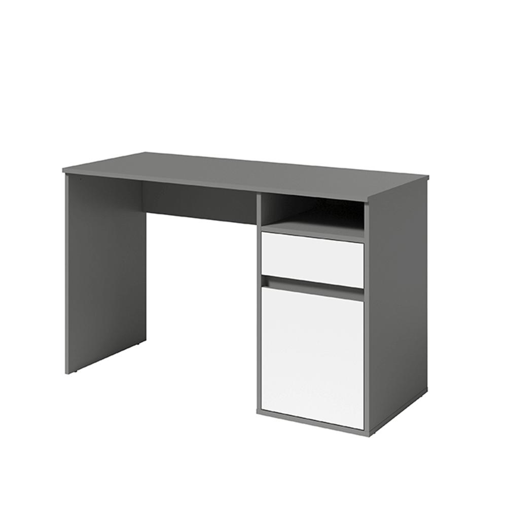 PC asztal, sötétszürke-grafit/fehér, BILI