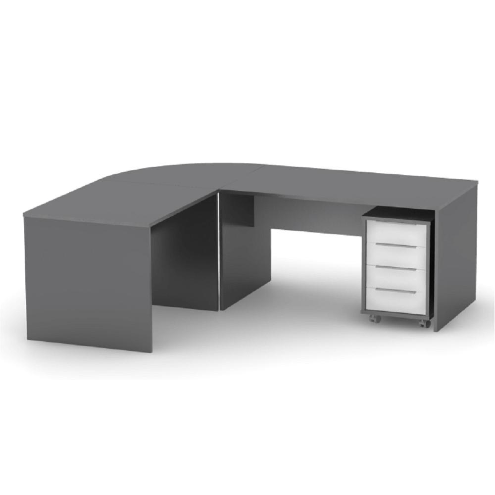 Íróasztal, grafit/féher, RIOMA NEW TYP 16