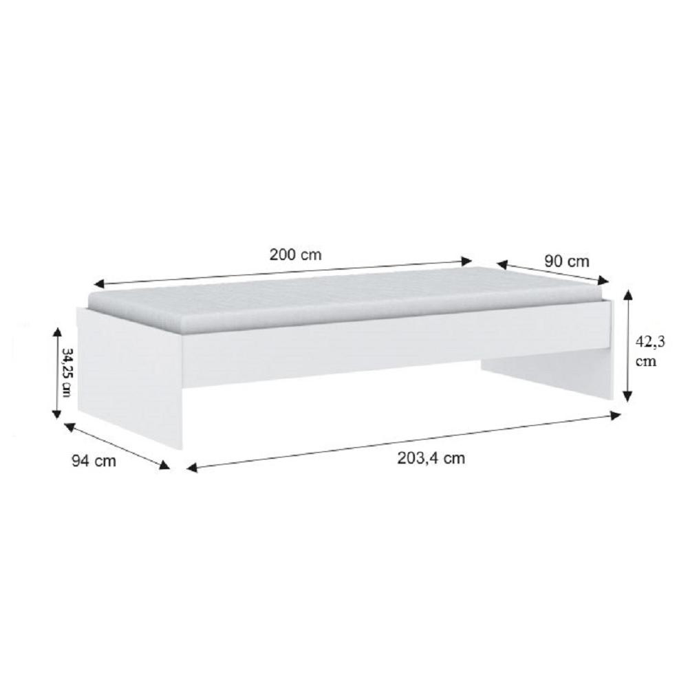 Ágy, fehér, 90x200, TIDY 318617