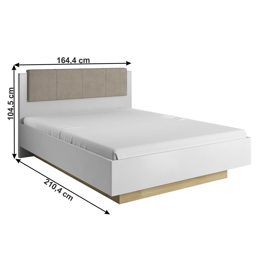 Ágy ágyneműtartóval, fehér/grandson tölgy/fehér magas fényű, CITY