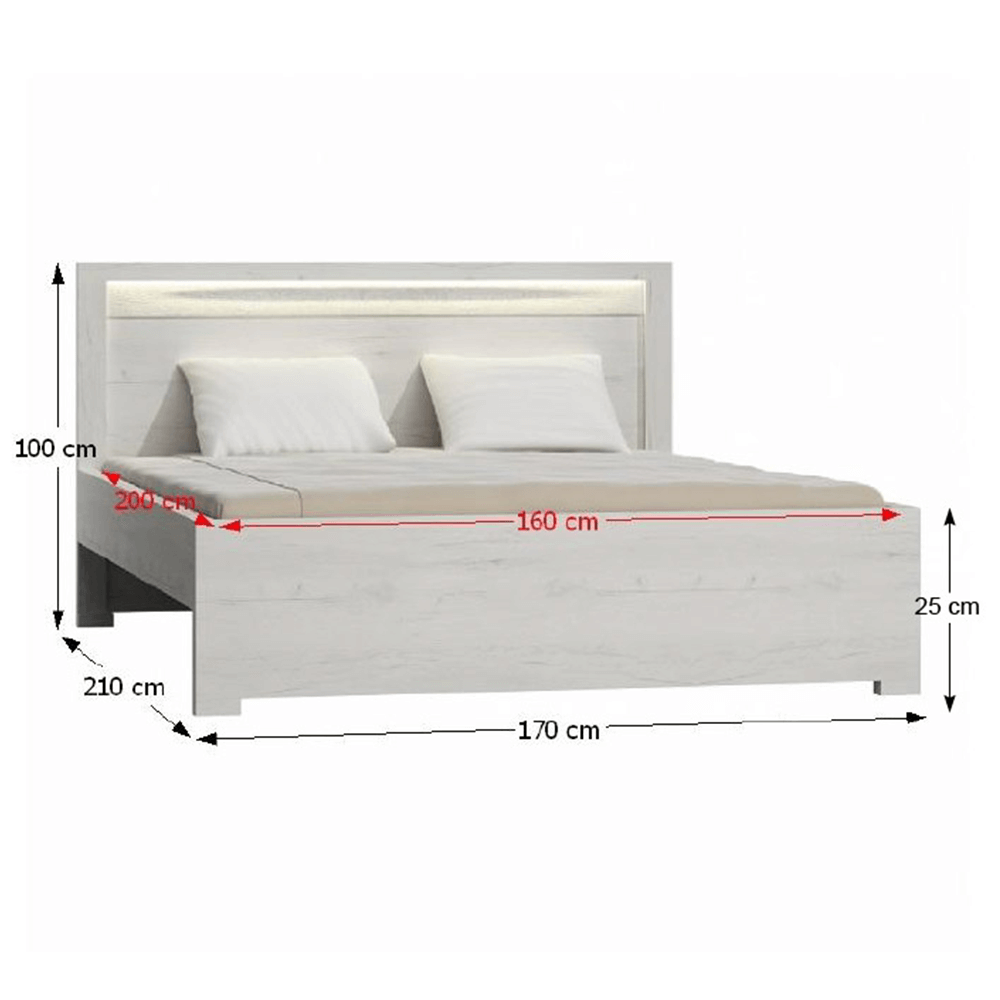 Ágy, kőris fehér, 160x200, INFINITY I-19