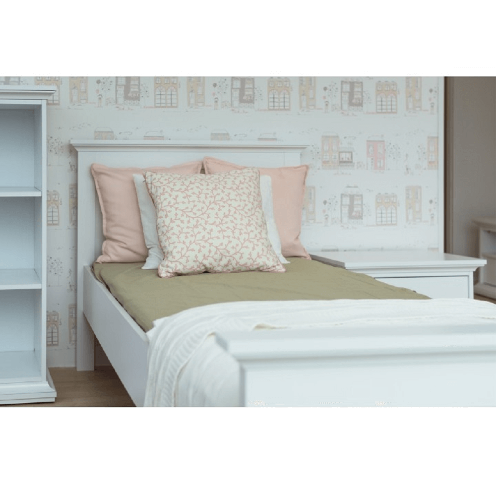 Ágy, DTD fóliázott/MDF festett, fehér, 90x200, PARIS