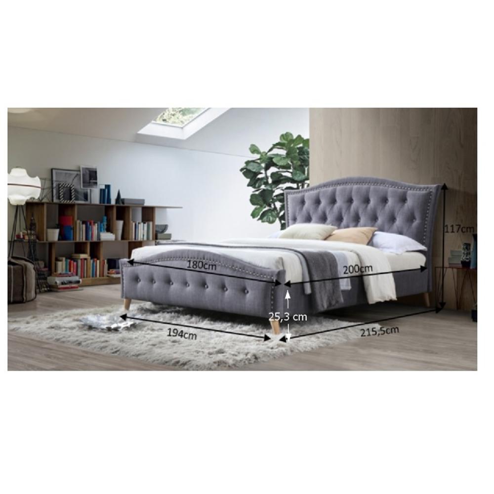Dupla ágy, szürke, 180x200, GIOVANA