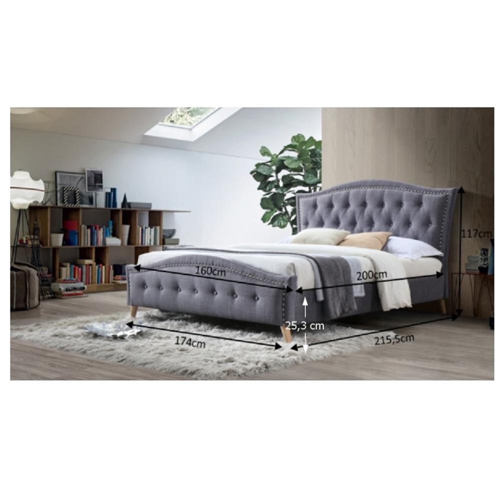 Dupla ágy, szürke, 160x200, GIOVANA