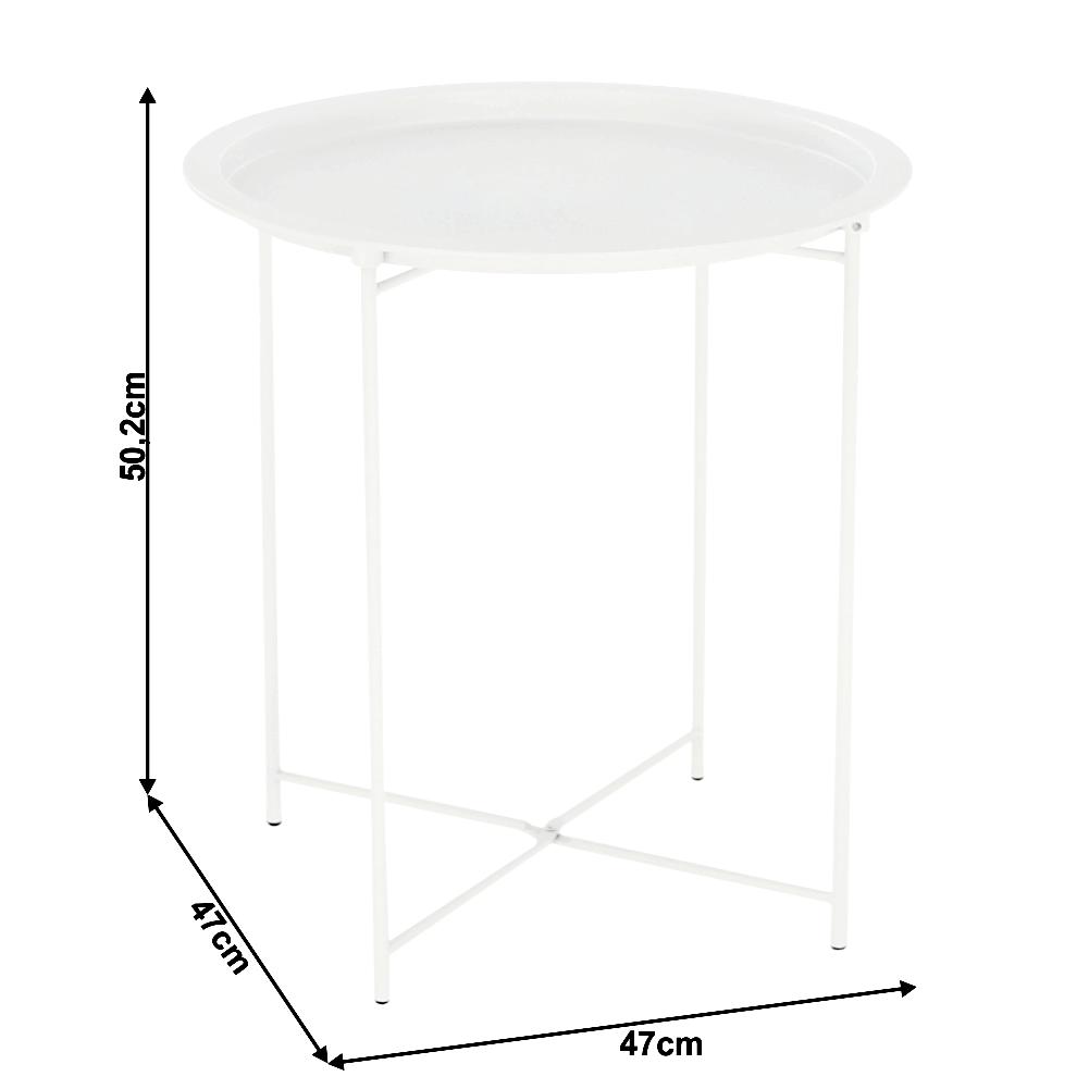 Kisasztal levehető tálcával, fehér, RENDER