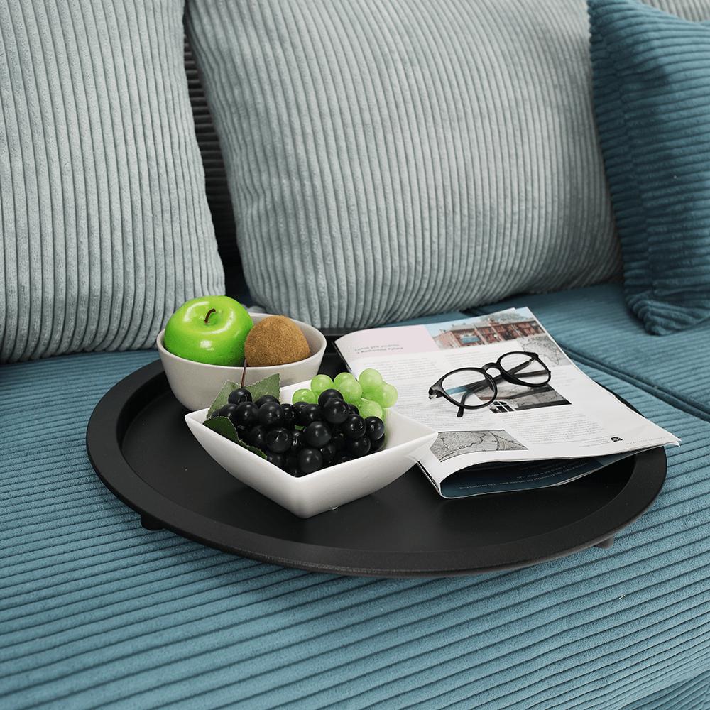 Kisasztal levehető tálcával, fekete, RENDER