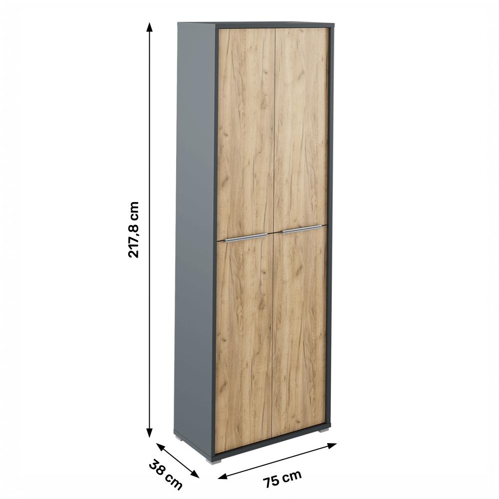 Magas szekrény polcokkal, grafit/tölgyfa artisan, RIOMA NEW TYP 05