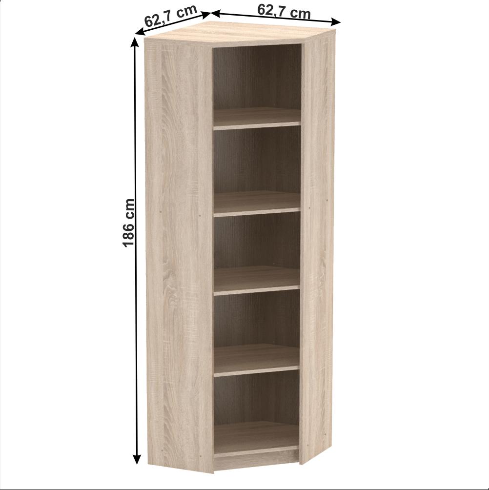 Sarok polcos szekrény, sonoma tölgy, JOHAN 2 NEW 09