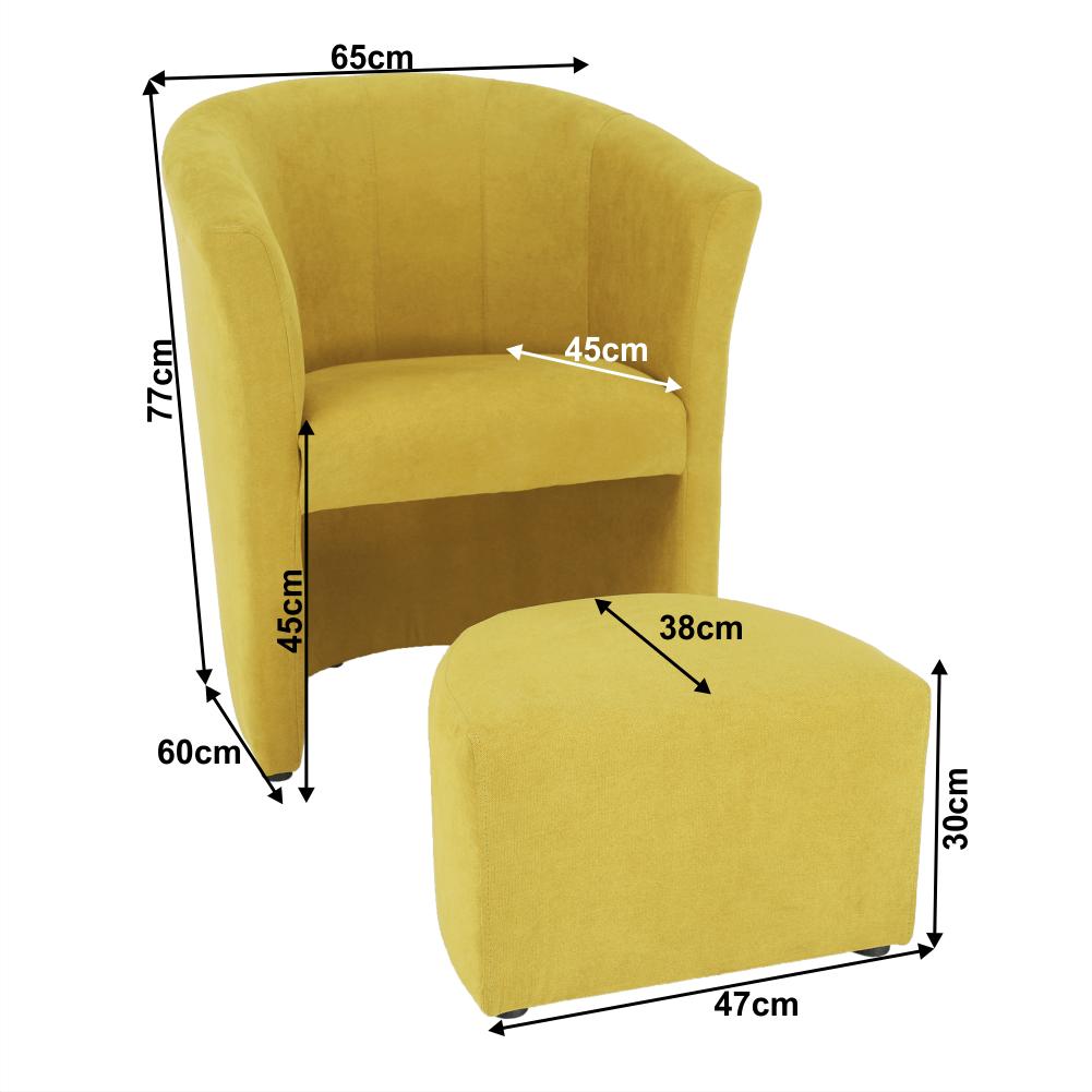 Klub fotel puffal, mustár, ROSE