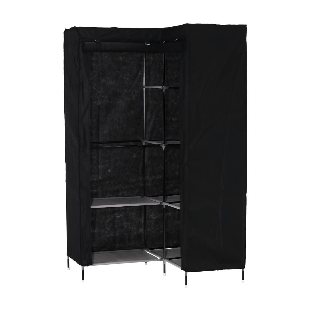 Sarok szekrény rendszerező, fekete, RUMIA