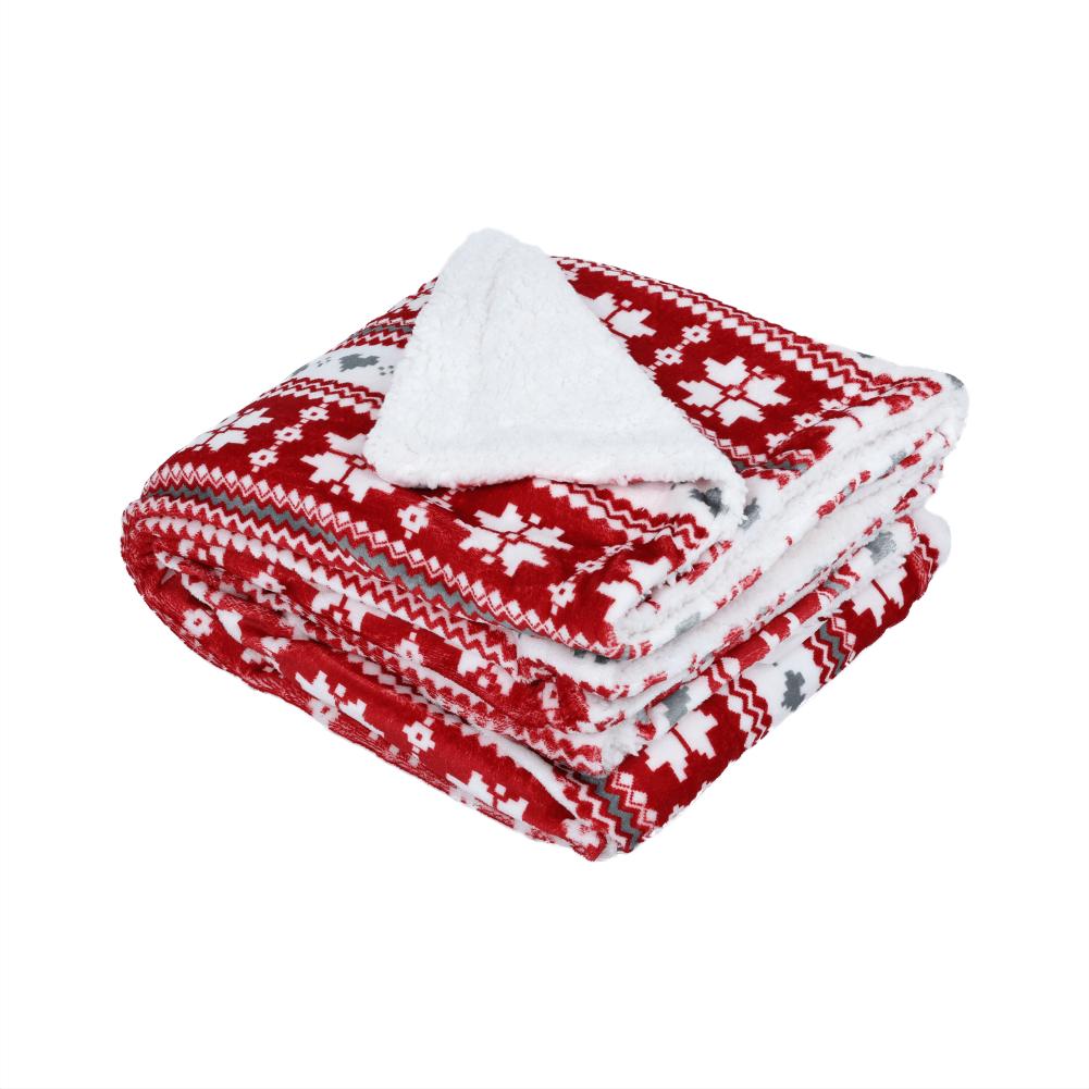 Kétoldalas bárány takaró, téli minta, 150x200, SAMANTE