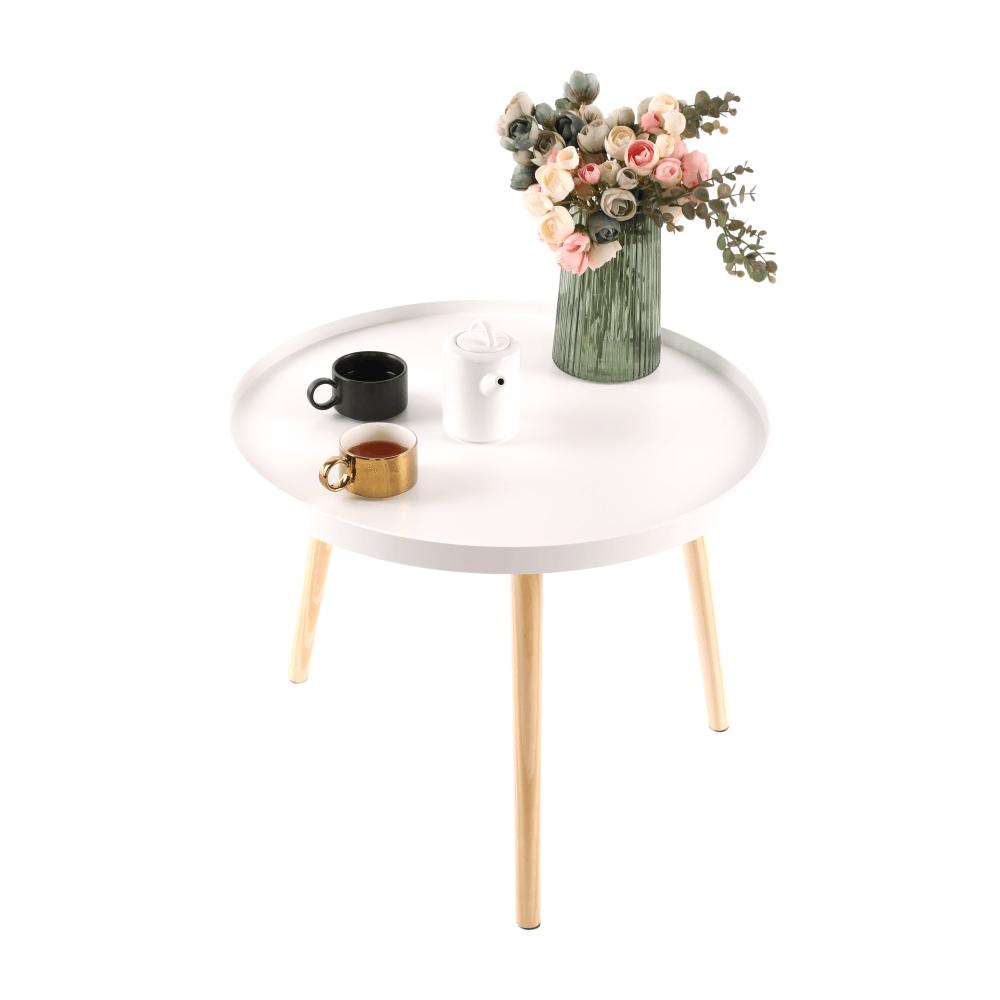 Kisasztal, fehér/természetes, SANSE TYP 1