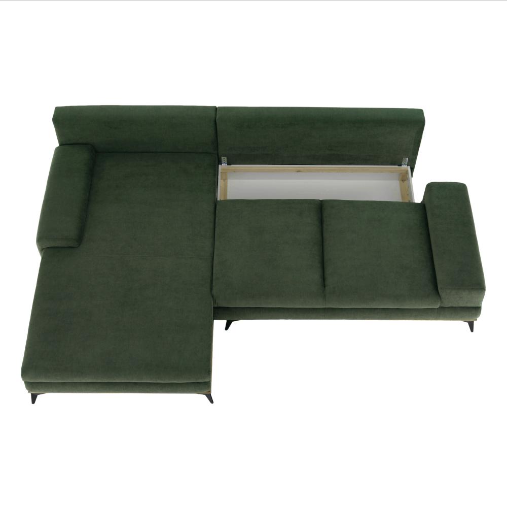 Ülőgarnitúra, zöld, balos kivitel, SELBY