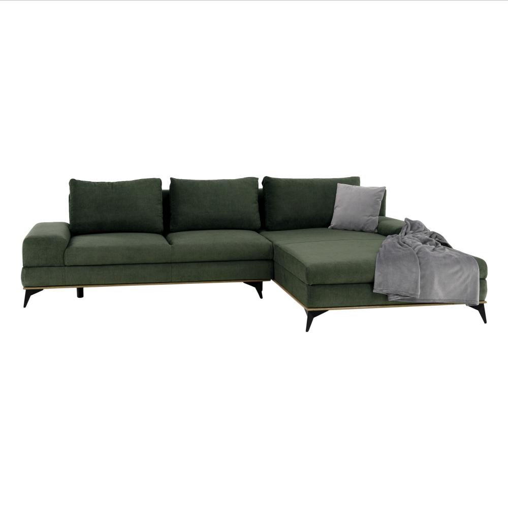 Ülőgarnitúra, zöld, jobbos kivitel, SELBY