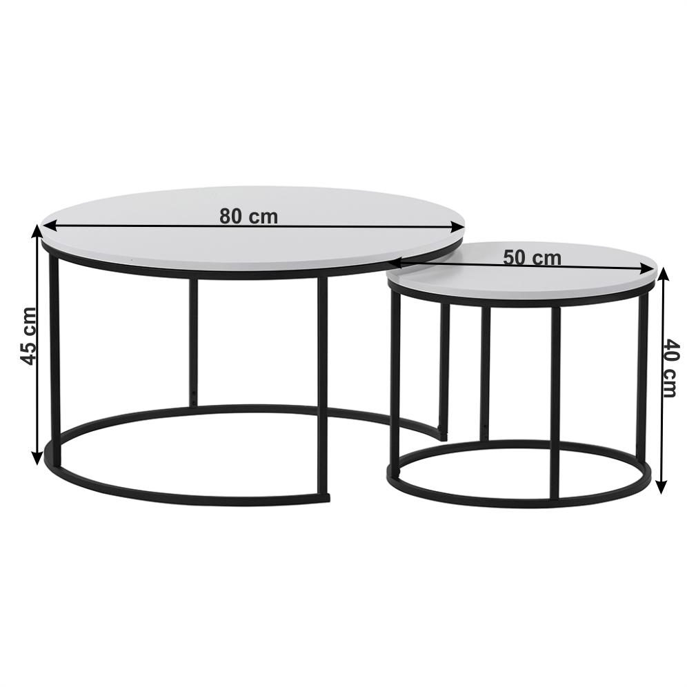 Két dohányzóasztal készlet, fehér/fekete, IKLIN