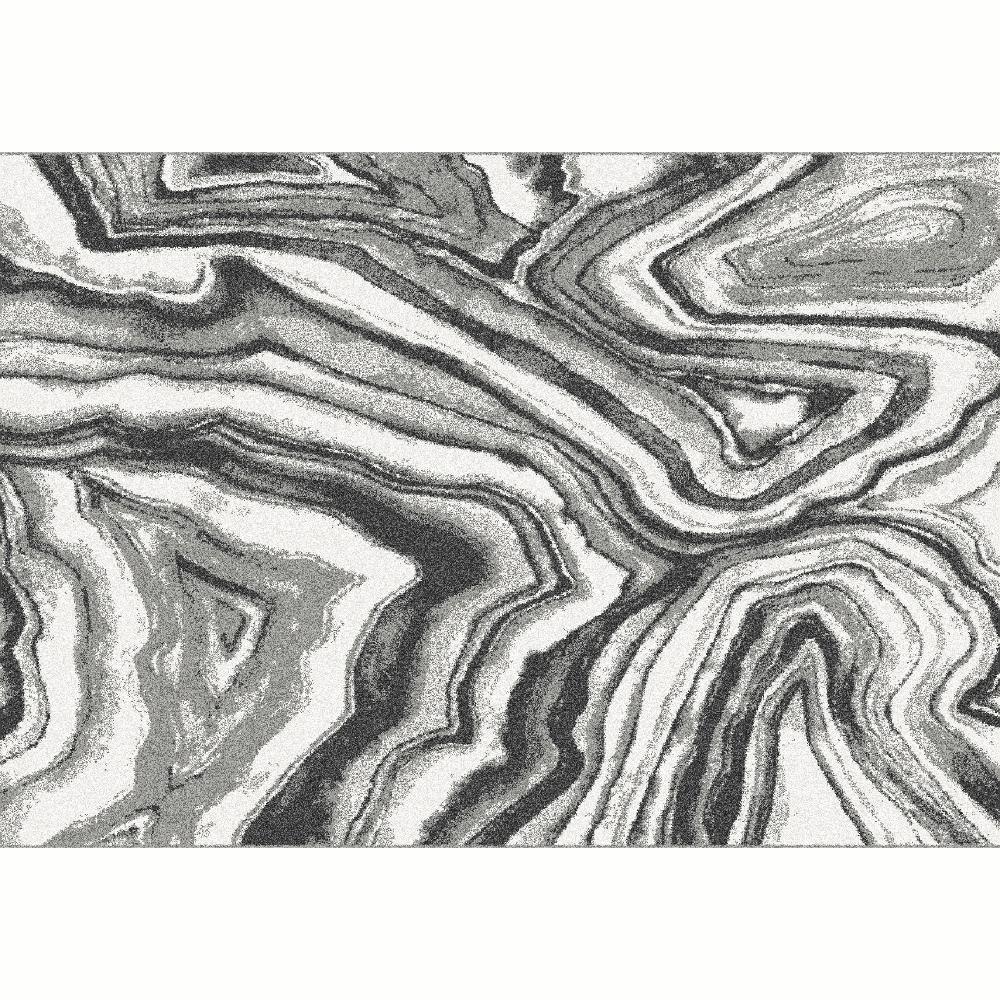 Szőnyeg, fehér/fekete/minta, 67x120, SINAN