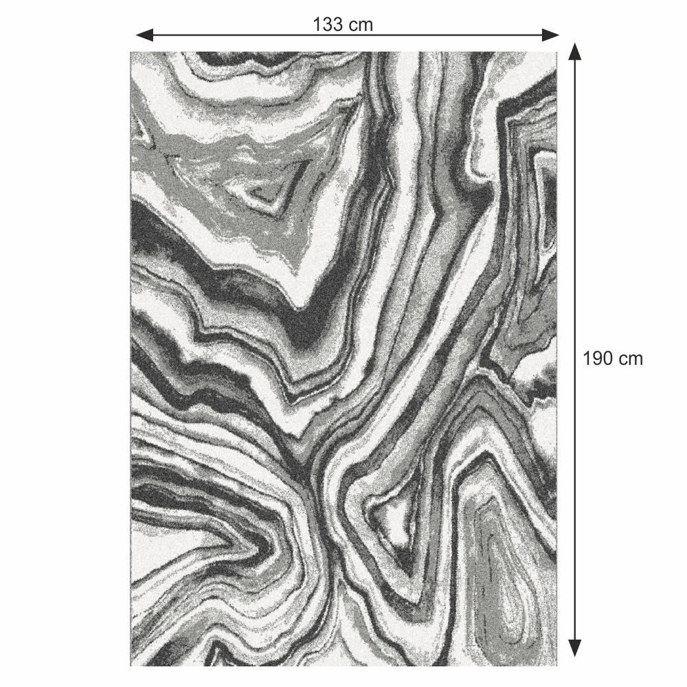 Szőnyeg, fehér/fekete/minta, 133x190, SINAN