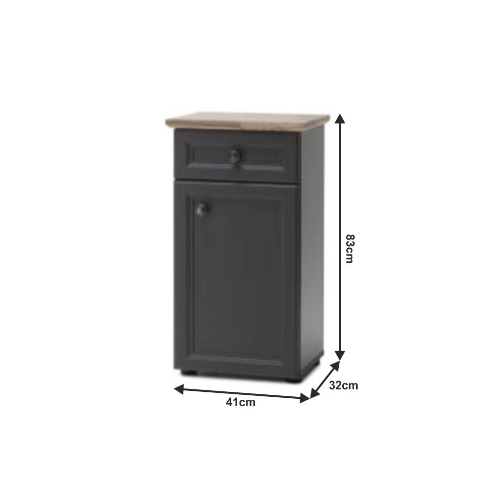 Alsó szekrény, sötétszürke/tölgy, TOSKANA