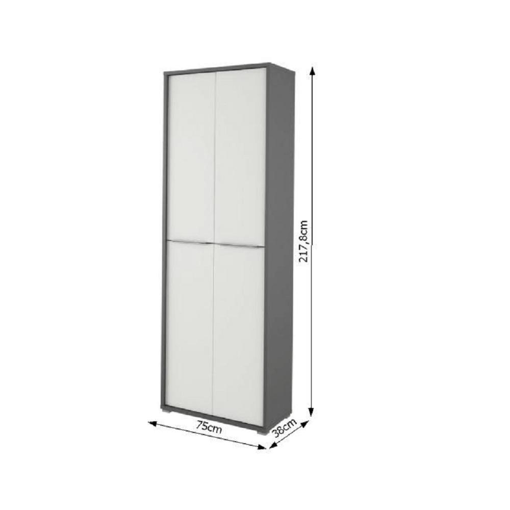 Magas polcos szekrény, grafit/fehér, RIOMA NEW TYP 05