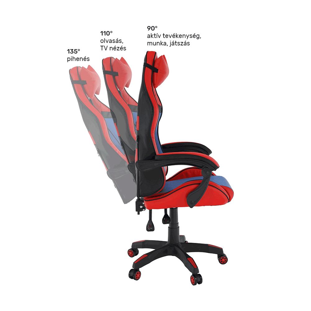 Irodai/gamer szék, kék/piros, SPIDEX