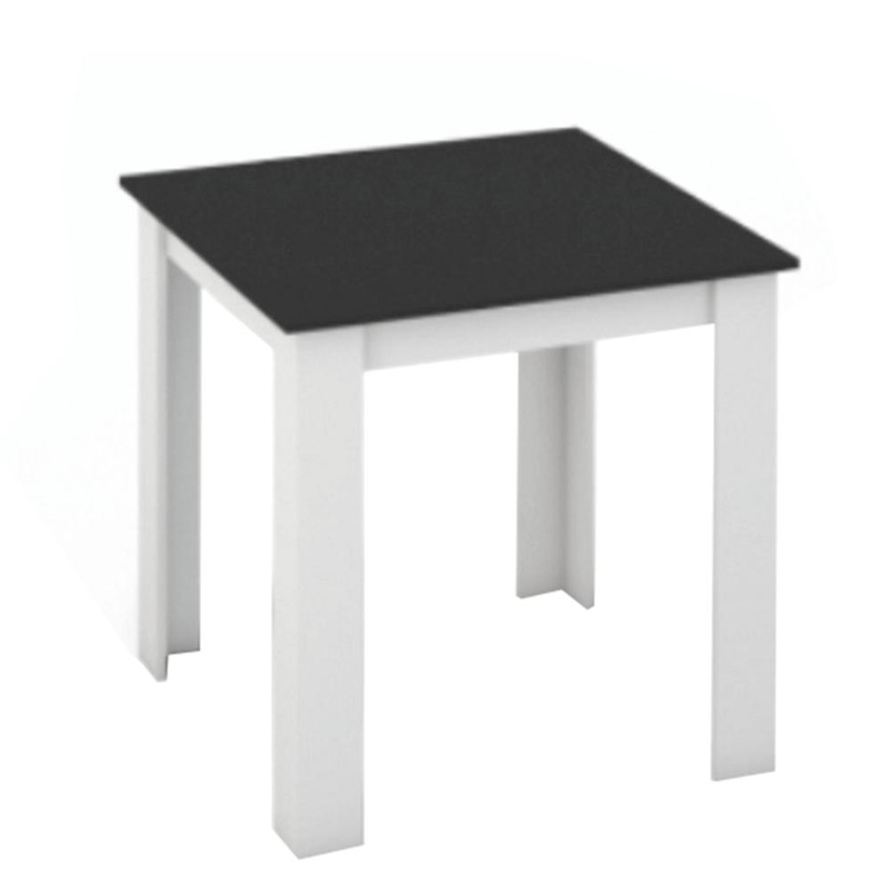 Étkezőasztal, fehér/fekete, 80x80, KRAZ