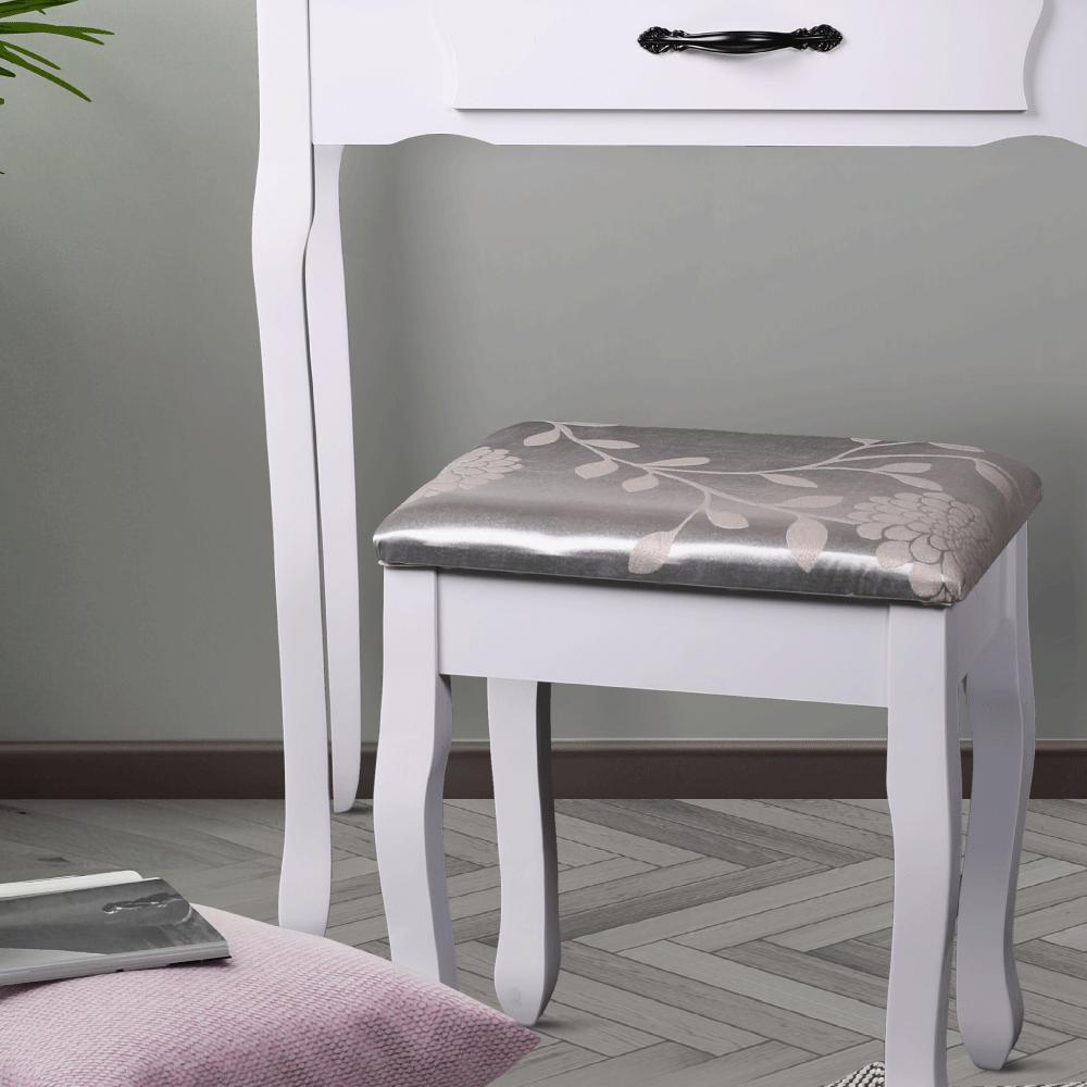 Fésülködőasztal zsámollyal, fehér/ezüst, LINET NEW