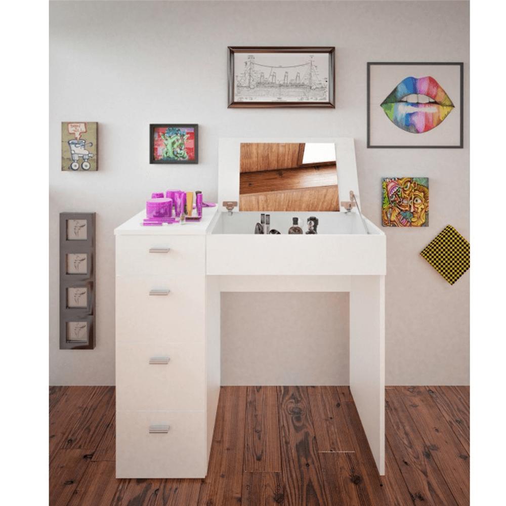Sminkasztal, fésülködő asztal, fehér, BELINA
