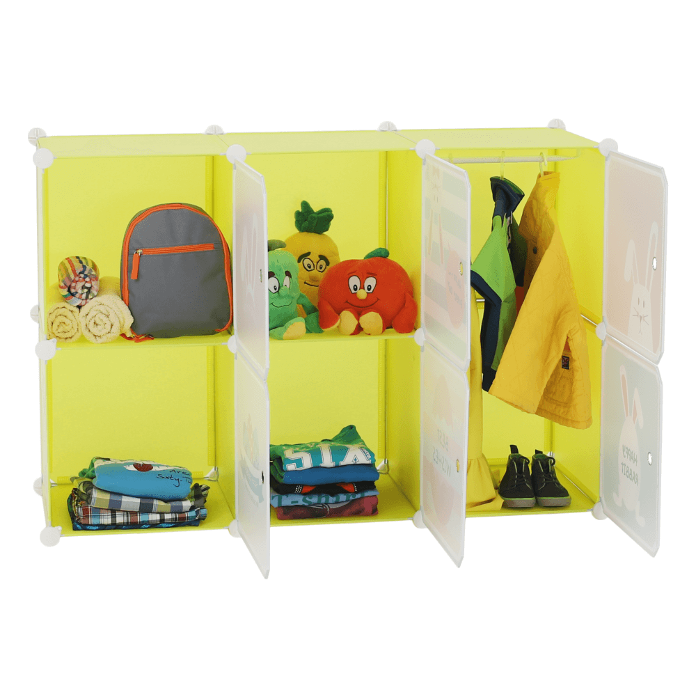 Gyerek szekrény, zöld/gyerek minta, TEKIN
