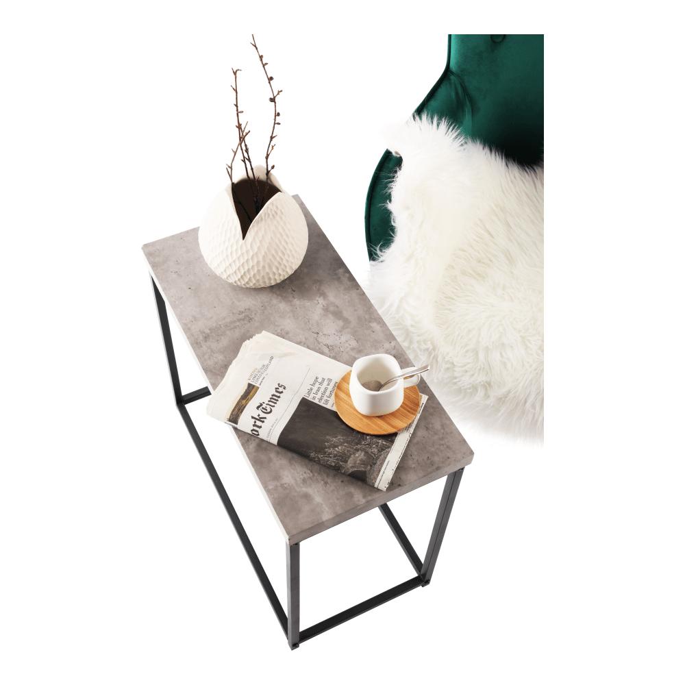 Kisasztal, fekete/beton, TENDER