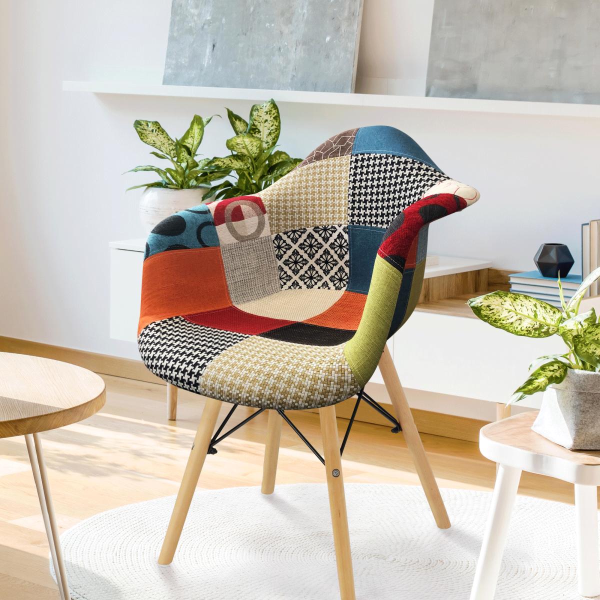 Fotel, anyag patchwork/bükk, TOBO 3 NEW