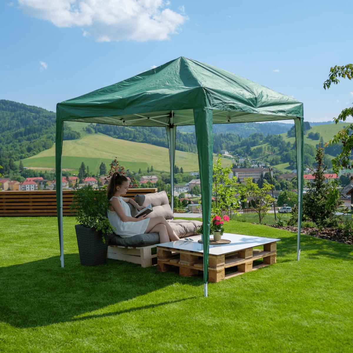 Öszecsukhatós kerti pavilon, zöld, 2x2 m, TREKAN TYP 1