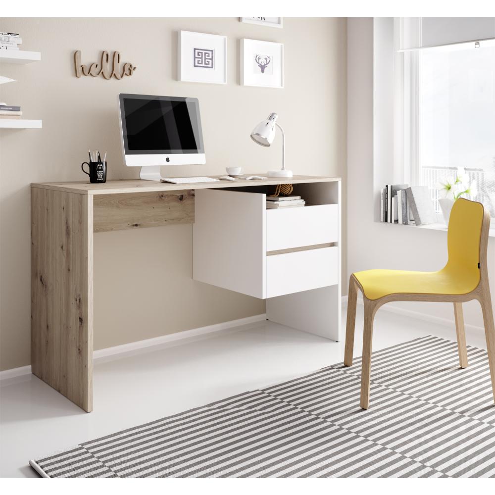 PC asztal, artisan tölgy/fehér matt, TULIO