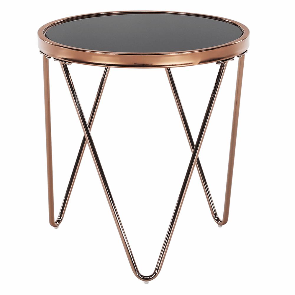 Sarok/Kisasztal, rose gold króm rózsaszín/fekete, VALERO