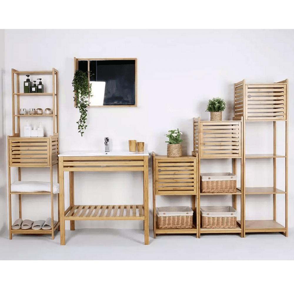 Polcos állvány, természetes bambusz, SELENE TYP 4