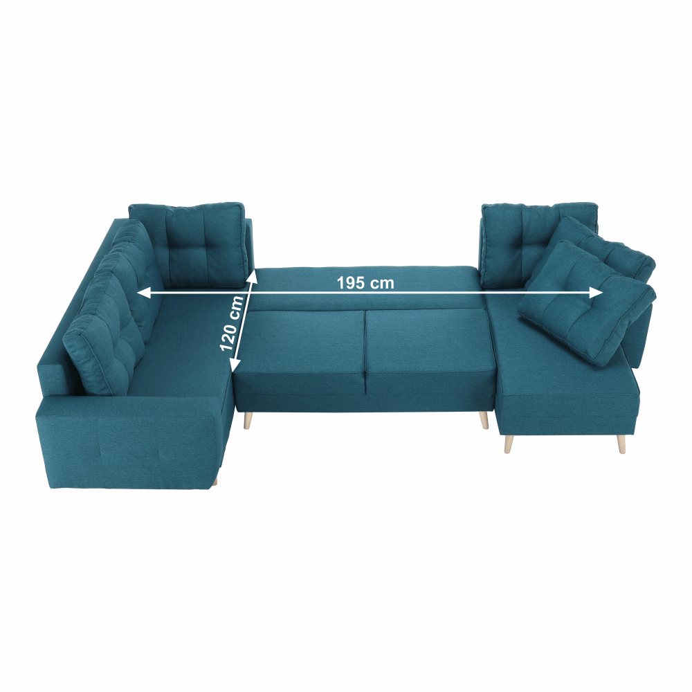 Ülőgarnitúra, türkiz, VINCENT U alakú