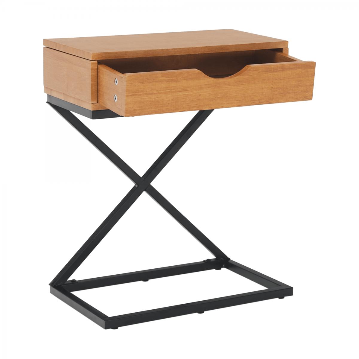 Kisasztal/éjjeliszekrény, tölgyfa/fekete, VIRED