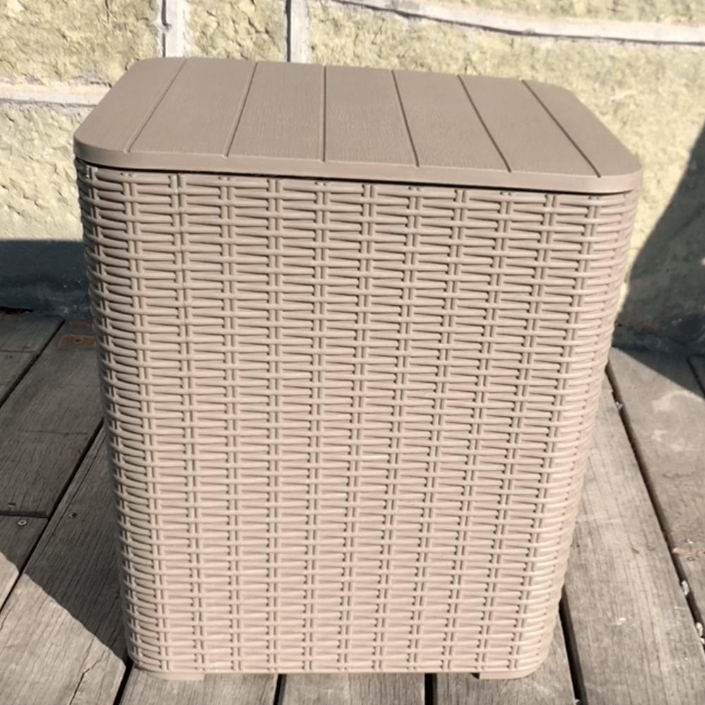 Kerti tároló doboz/kisasztal, szürkésbarna, UGUR