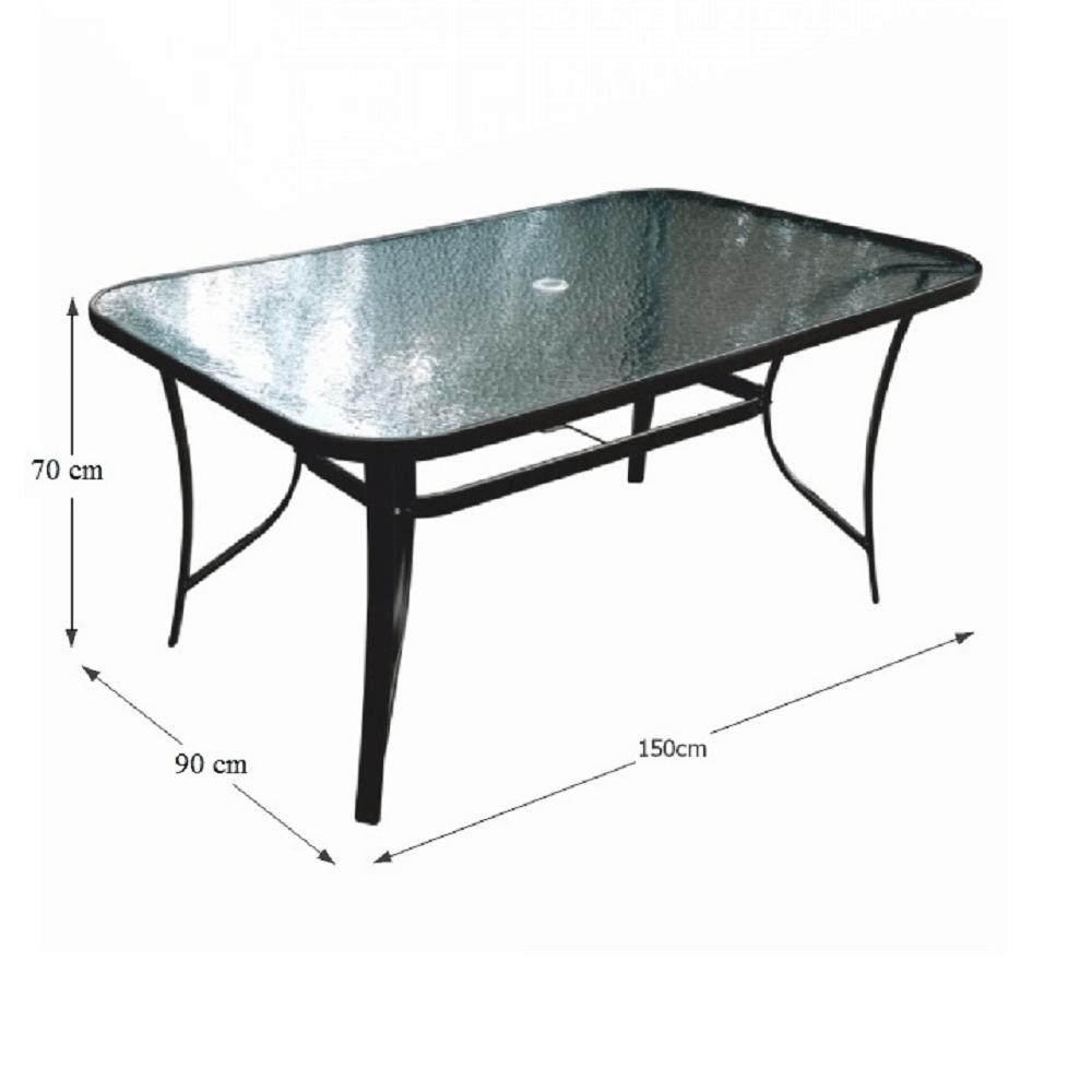 Étkezőasztal, edzett üveg/acél, PASTER