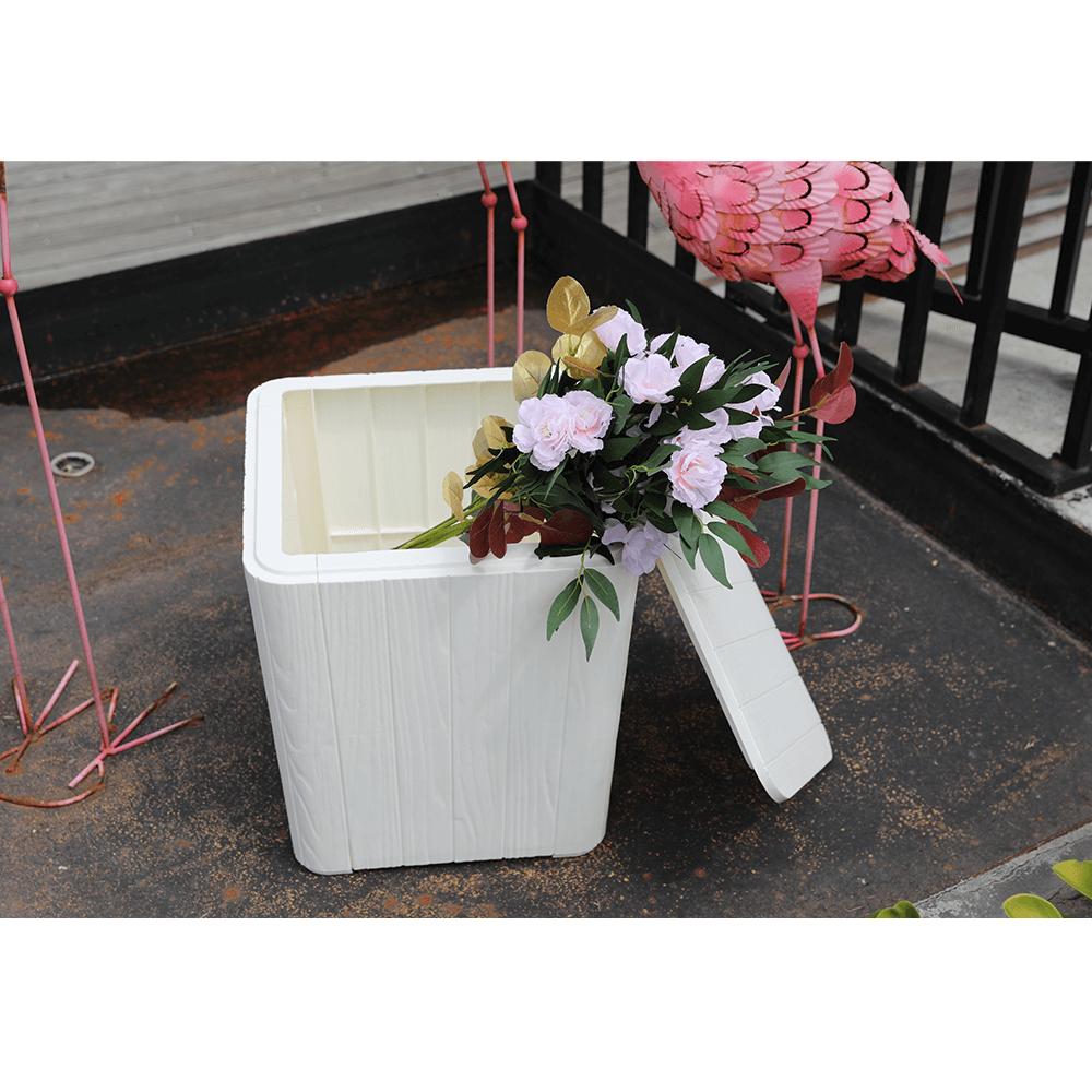 Kerti tároló doboz/kisasztal, fehér, IBLIS