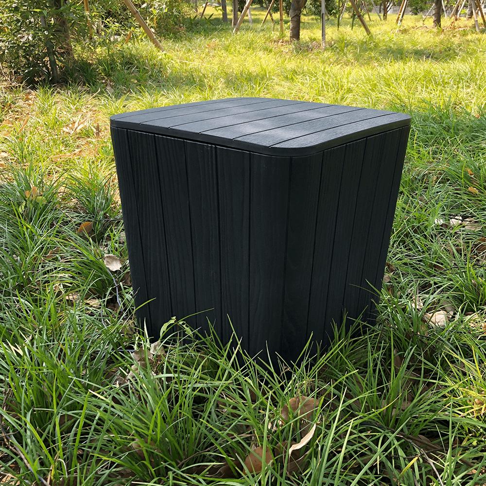 Kerti tároló doboz/kisasztal, fekete, IBLIS