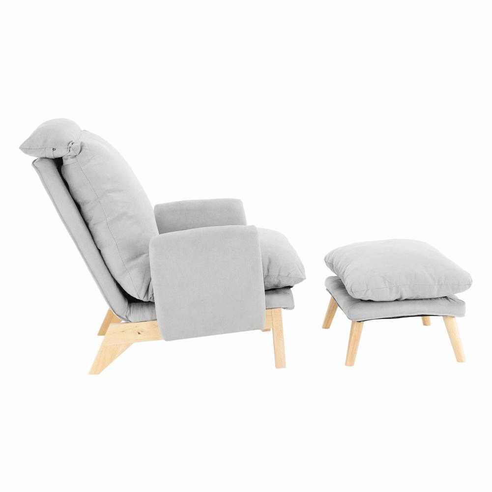 Fotel lábtartóval, világosszürke/természetes, ZANDER