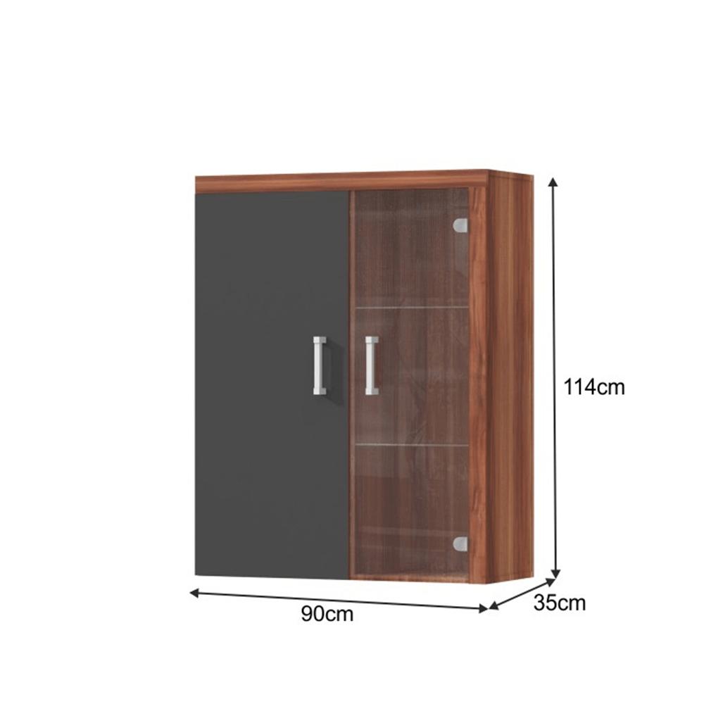 Vitrines faliszekrény, szilva/szürke grafit, CHERIS 4