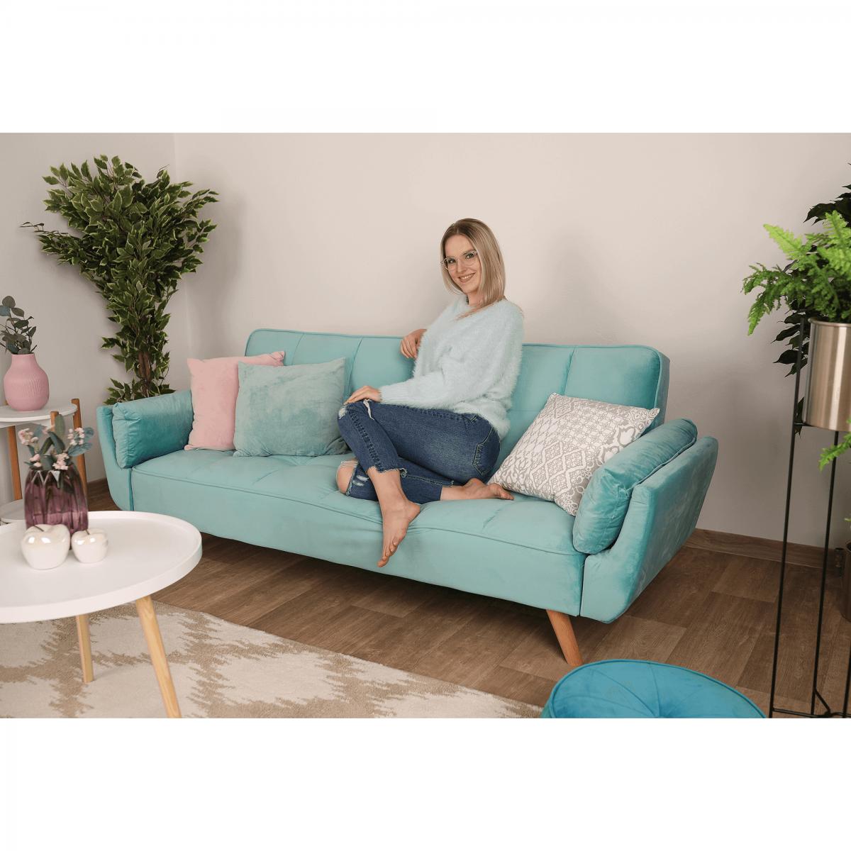 Széthúzhatós kanapé, neo mint/tölgy, FILEMA