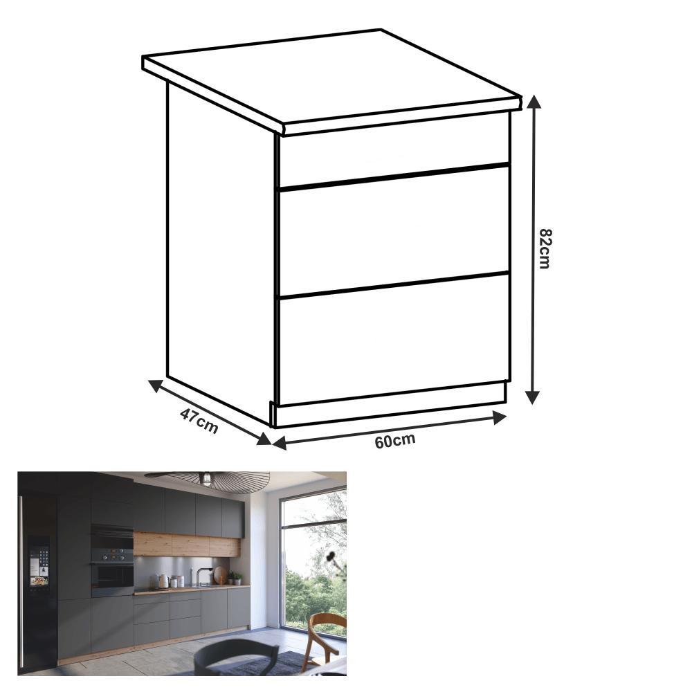 Alsó szekrény, artisan tölgy/szürke matt, PUSH UP, LANGEN D60S3