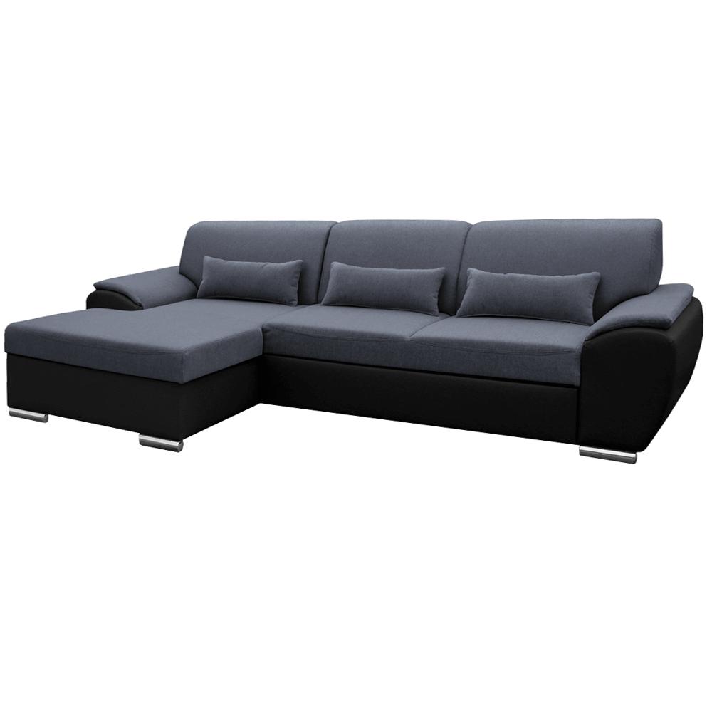 Ülőgarnitúra, fekete/sötét szürke, balos, EMILY ROH MALÝ