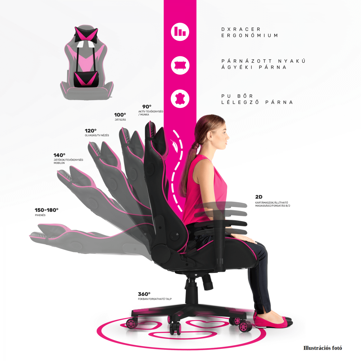 Irodai/gamer szék, fekete/katonai minta, ARMYRE